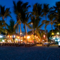 Restaurants lining the beach in Cabarete, Puerto Plata